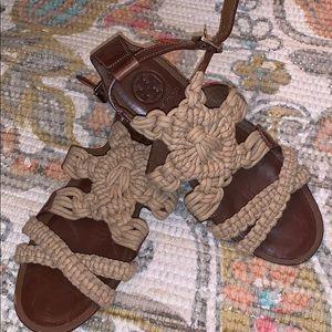 Tory Burch Fleur leather macrame sandals